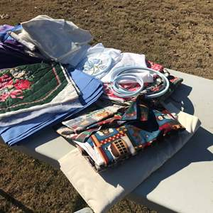 Lot # 7 - Creative Crafts, Needlepoint, Batting, Material, Embroidery/Needlepoint Hoops