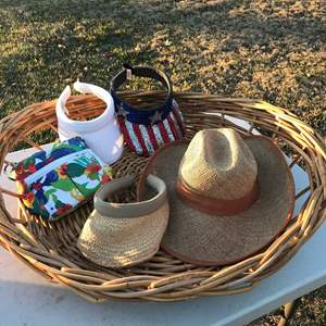Lot # 15 - Large Flat Basket, a Hat, 3 Visors, and a Purse