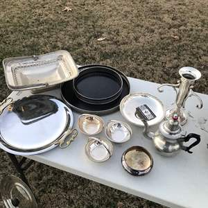 Lot # 27 - Miscellaneous Silver Tone or Plated Items, Tea Pot, Trays