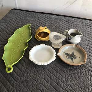 Lot # 12 - Miscellaneous Pottery and Glass Group.  Some Vintage Rare Creamer/Pitcher, Ashtray