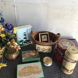Lot # 14 - Miscellaneous Things, Basket, Tins, Florals, Trinket Boxes, Key Box