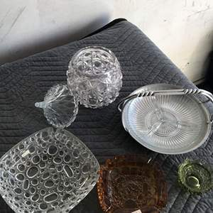 Lot # 15 - Vintage Ashtrays, Candy Dishes, Glass Ware, Hammered Silver Tone Holder.