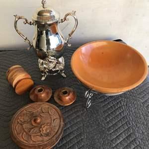 Lot # 18 - Dillingham Hart Michigan Wood, Large Silver Tone Tea Pot with Warmer, Oregon Myrtlewood