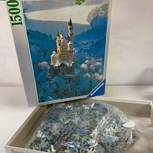 Lot # 5 - Ravensburger Premium Soft 1500 Piece Puzzle - Castle Neuschwanstein in Winter