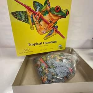 Lot # 9 - SunsOut 1000 Piece Puzzle - Tropical Guardian (Frog) by Dennis Rogers
