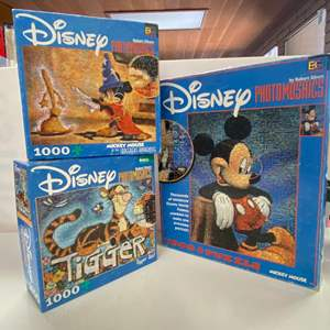Lot # 10 - 3  Disney Photomosaic Puzzle - Mickey Mouse, Tiger Too! and Mickey Mouse as the Sorcerer's Apprentice