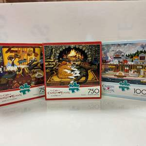 Lot # 12 - 3 Charles Wysocki Puzzles - By the Sea, Mabel the Stowaway, & All Burned Out