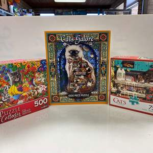 Lot # 13 - 3 Puzzles, Cat Themed: Cats Galore, Doorstep Raiders, & Curious Kittens