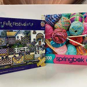 Lot # 16 - 2 1000 Piece Puzzles - Quilting Country & Knitting