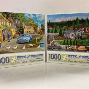 Lot # 18 - 2, Bits and Pieces 1000 Piece Puzzles: By the Brook & Horsin' Around