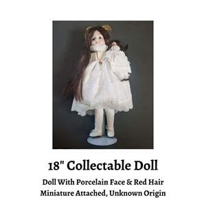 """Lot # 76 - Great Display Doll that Stands 18"""" tall and has Miniature Attached.  (Auction Item)"""