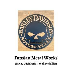 """Lot # 78 - Fanslau Metal Works - Harley Davidson 14"""" Wall Medallion (Auction Item)"""