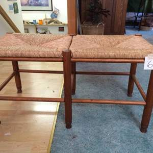 """Auction Thumbnail for: Lot# 61 Wicker and Wood Sitting Bench 18H x 31""""L x 15""""d"""