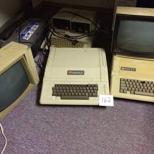 """Auction Thumbnail for: Lot # 162 Old School Apple Keyboards and Monitors, Epson Printer, two 5-1/2"""" floppy drives"""
