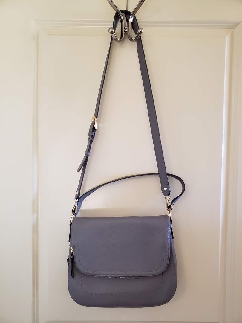 Lot # 116 - Grey Filigree Leather Cross Body Purse from Nordstrom (NEW!) Includes Wallet too! (main image)