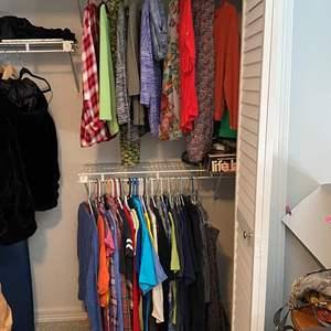 Lot # 13- Women's Wardrobe: Ralph Lauren Linen Button downs, T-Shirts, Tanks, Flannel, Mostly Tops Size L, Scarves.