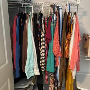 Lot # 16- Cute Women's Clothes: Mostly Size Small, Some Medium, DB Cloth Handbag, Some with Tags On, Mostly all barely worn.