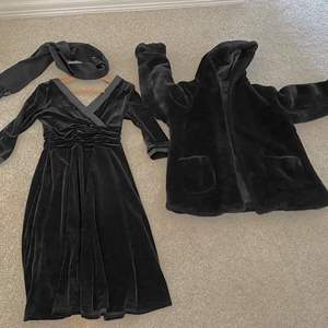 Lot # 20- Formal Velour Black Dress with Faux Fur Coat, Wool/Cashmere Scarf