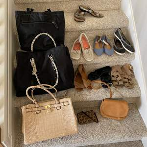 Lot # 22- Cute Handbags, Shoes, and Totes.