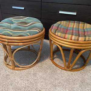 Lot # 23- Two Bamboo Stools with Chair Pads. Could be used at ottomans