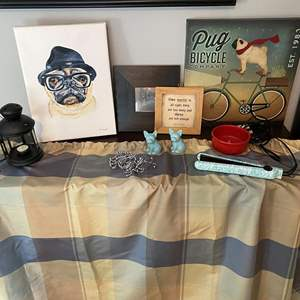 Lot # 25- French Pitbull Canvas Art, Pug Canvas and other Framed Art, Ceramic S&P and Dish, Flat Iron, Shower Curtain w/hooks, T
