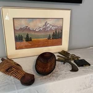 Lot # 26- Beautiful Original Pastel of Mt Kenya, Carved Wood Collectibles, Metal Giraffe hook, Misc. Brass