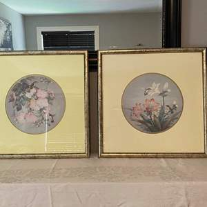 """Lot # 27- Floral and Bird Wall Art. Nice Frames and Matted. 21-1/2"""" square."""