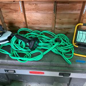Auction Thumbnail for: Lot #224 - Shop Light, Portable Extension Light and Long Electrical Cord