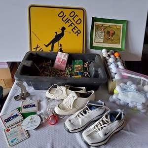 Auction Thumbnail for: Lot #225 - For the Golfer: Women's Shoes, Tees, Balls, Signs