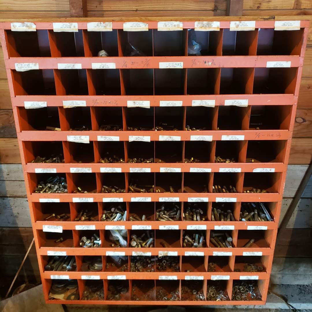 Lot# 4 - Awesome Metal Wall Cubicle for organizing in your Garage * FULL of Tons of Screws & Nuts etc. * Tools (main image)