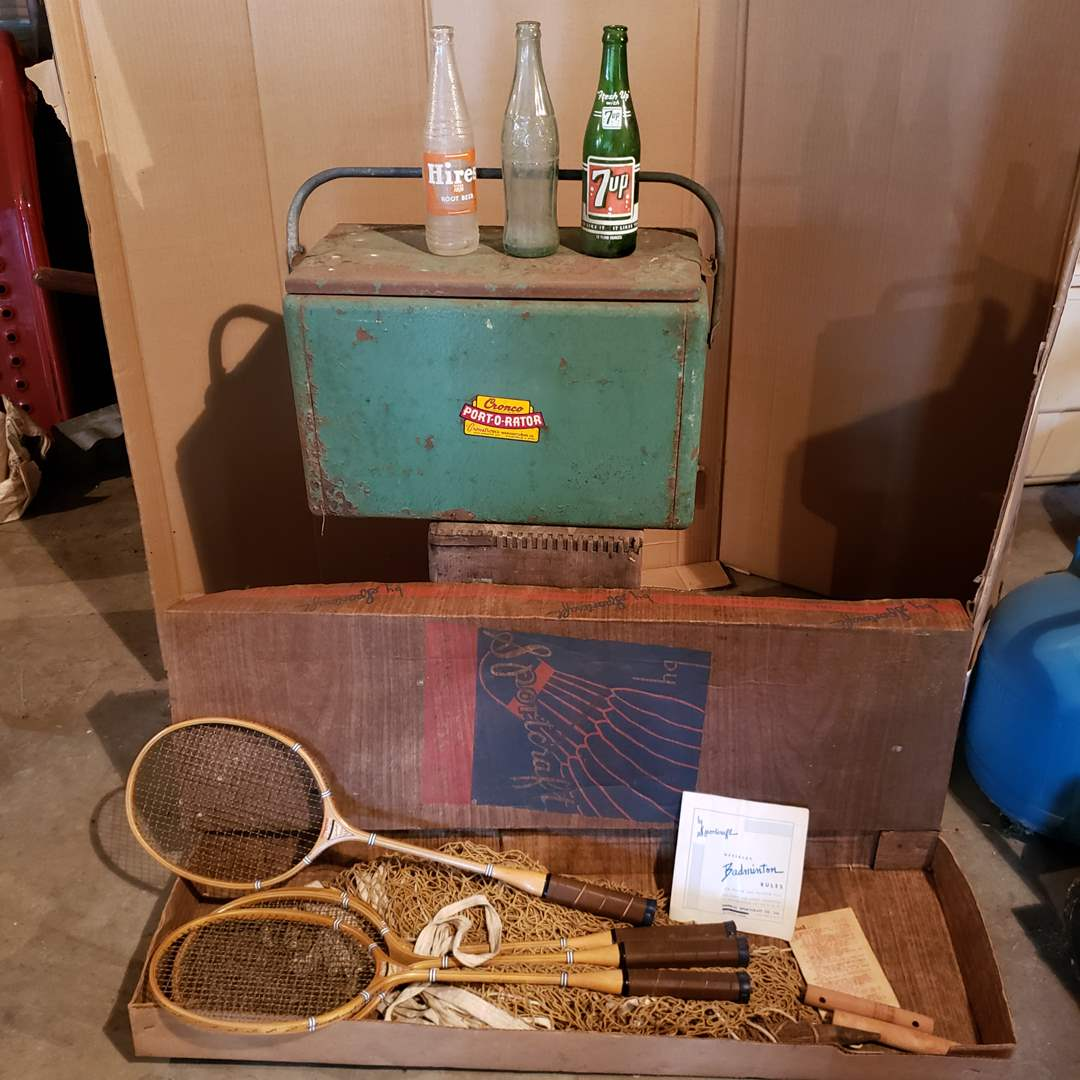 Lot# 14 - Vintage Cooler * Bottles * Badmitten Set (main image)