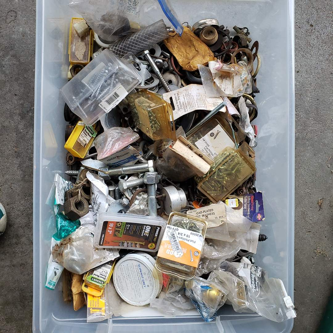 Lot# 25 - Fun Surprise Lot of Nuts * Bolts * Screws * Washers and more! * Tools (main image)