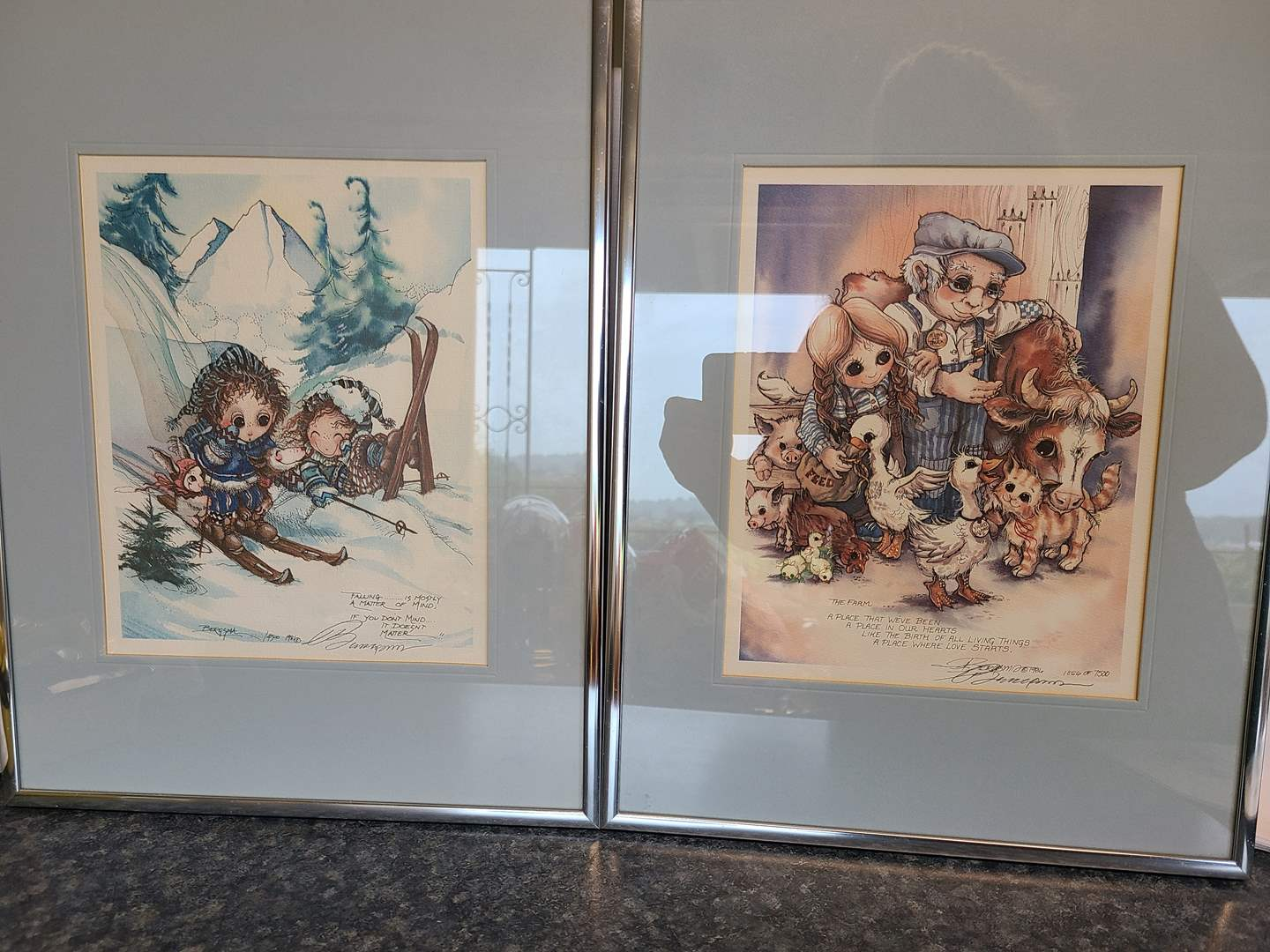 Lot# 47 - BERGSMA Framed Signed Prints * 1981 & 1986 * The Farm * Skiing Falling is mostly a matter of mind (main image)