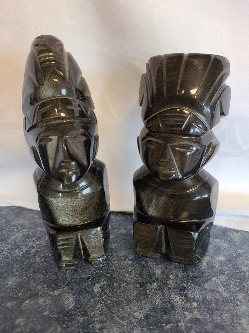 "Lot# 49 - Vintage Tiki God Totem Statue Carved Black Stone Onyx? Marble? 6"" High (main image)"