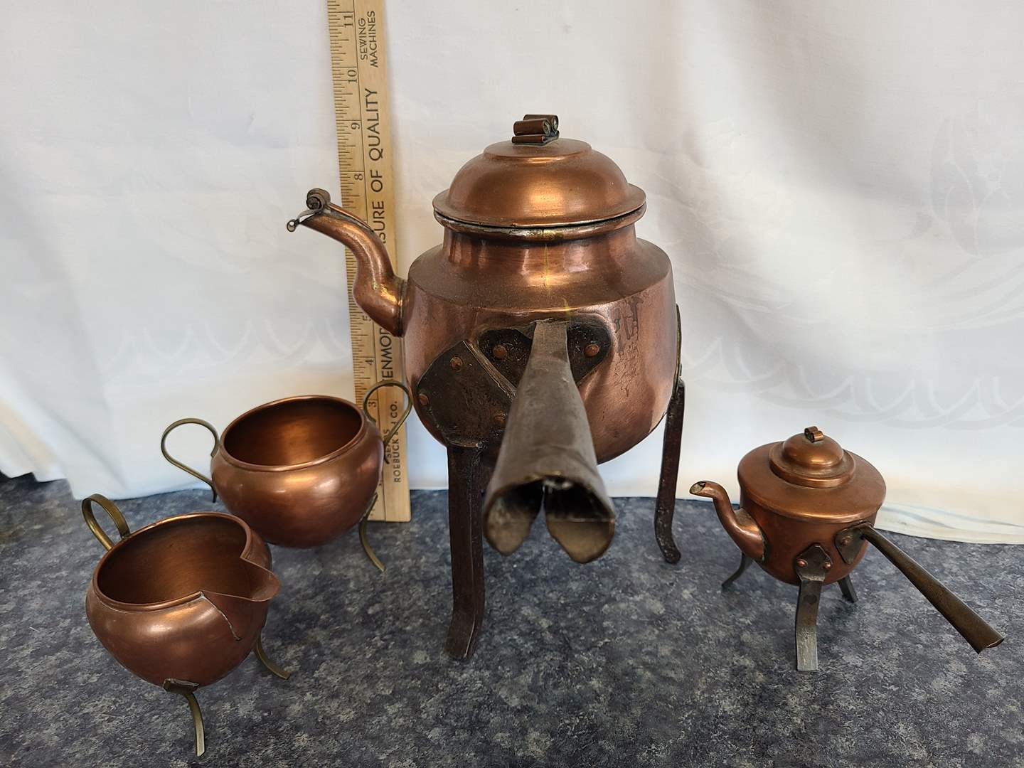 Lot# 52 - Copper Teapot with Creamer & Sugar * See pics for detailed info (main image)