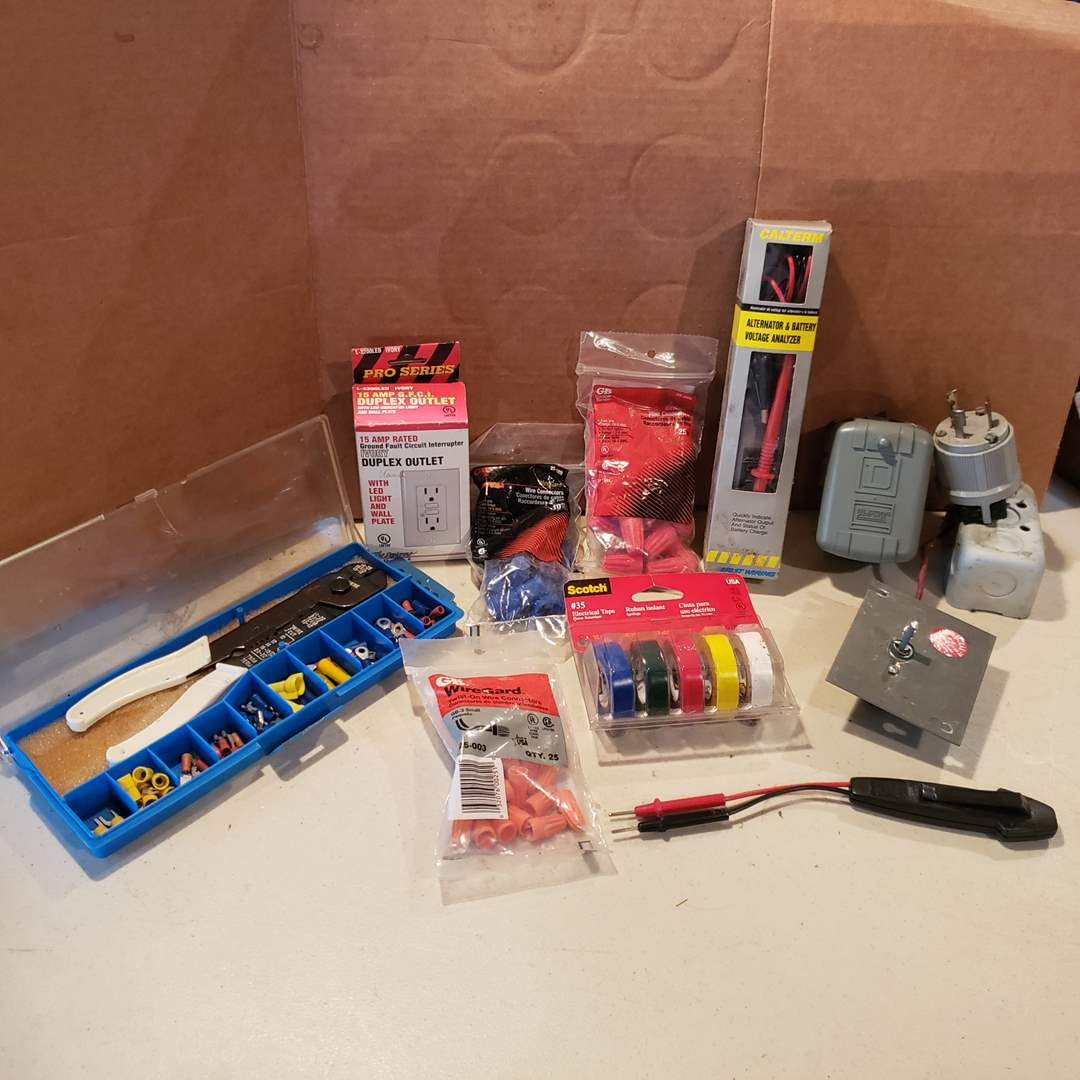 Lot# 27 - Electrician Lot * Tester * Supplies (main image)