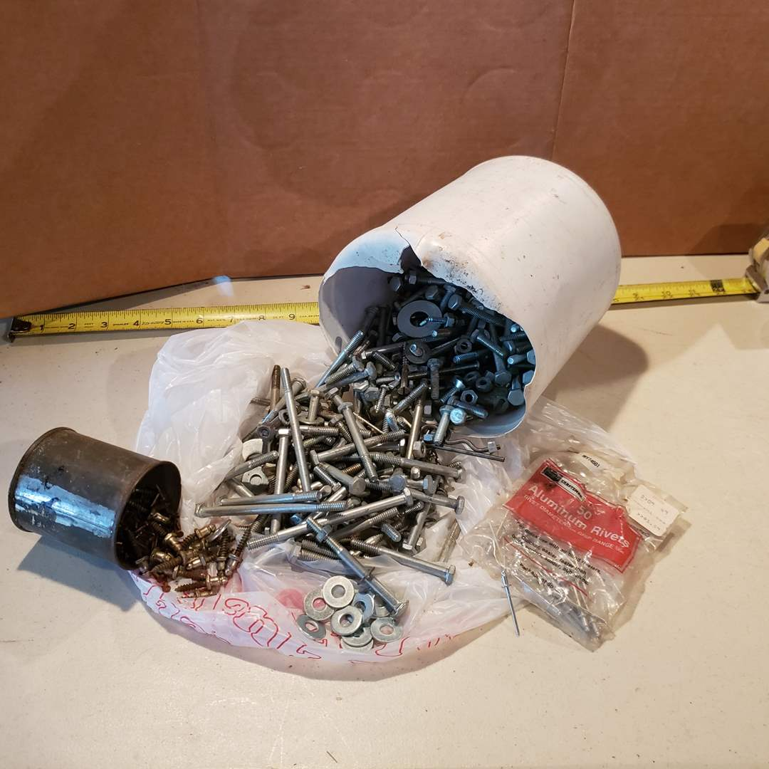 Lot# 30 - Mystery Cans of Nuts * Bolts * Screws * Washer * Tools (main image)
