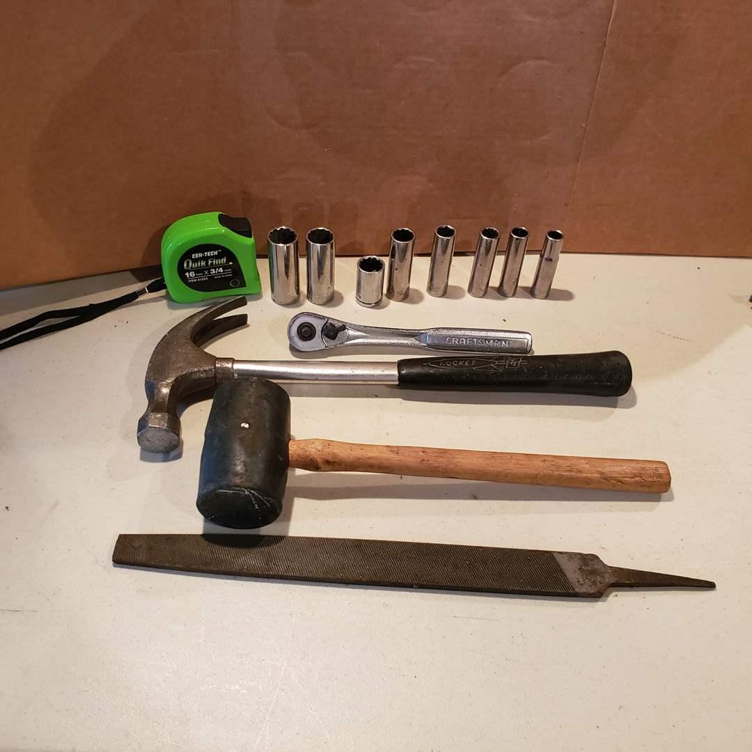 Lot# 32 - Kearney & Foot File * Hammer * Mallet * Tape Measure * Socket Set * Tools (main image)