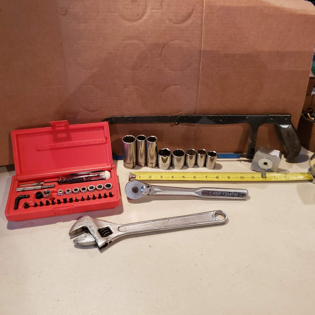 Lot# 34 - Vermont American Socket Set * Crescent Wrench * Saw * Tape Measure * Tools (main image)