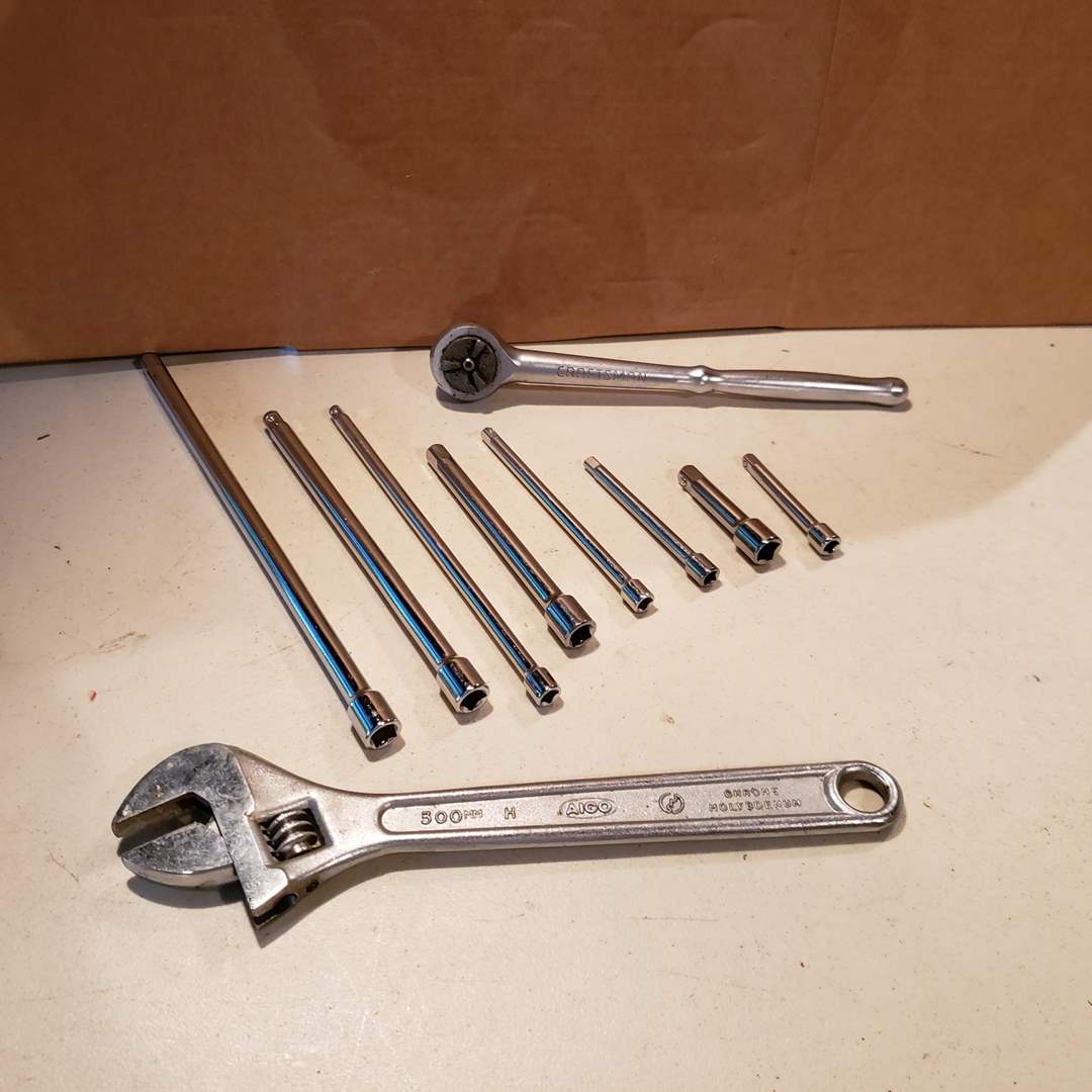 Lot# 37 - Crescent Wrench * Several Extenders * Tool (main image)