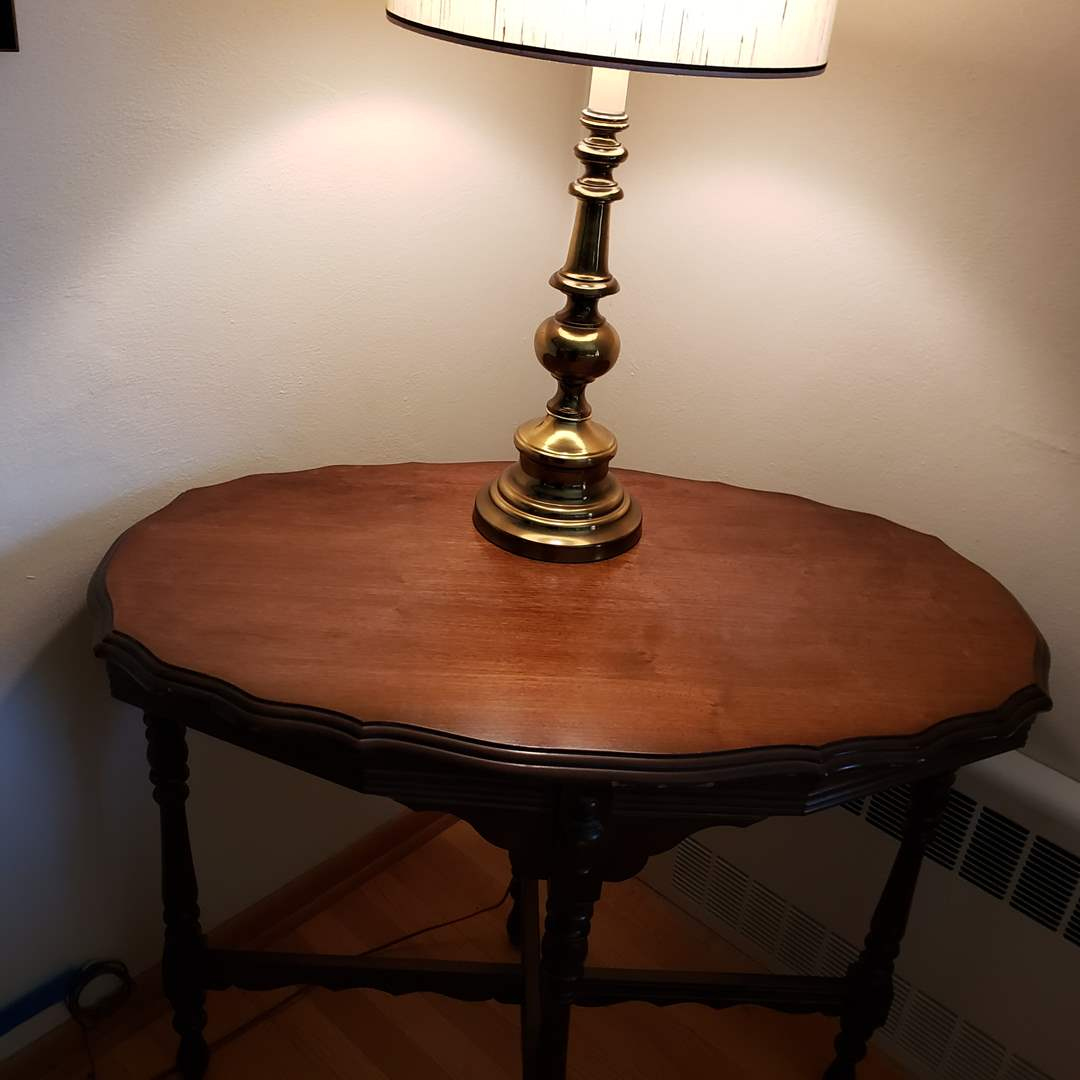 Lot# 77 - Beautiful Antique Table and Lamp * Furniture (main image)