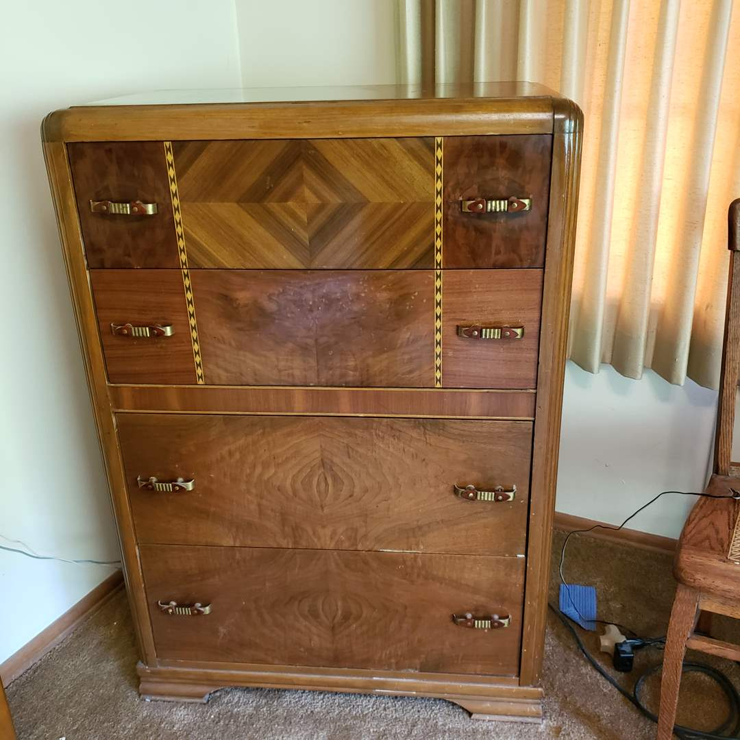 Lot# 84 - Super Nice Antique Highboy Dresser Chest of Drawers * Art Deco !! * Beautiful Furniture (main image)