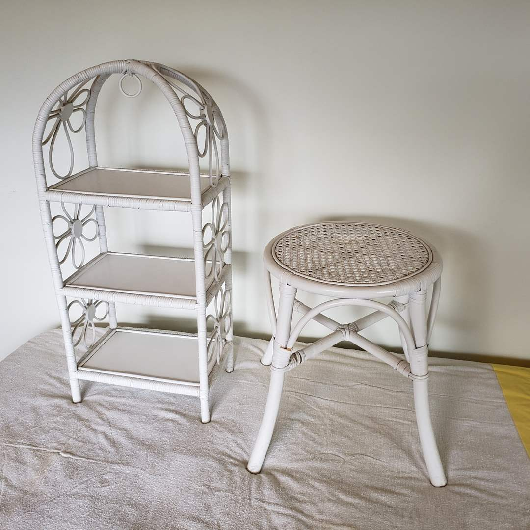 Lot# 87 - Really Cute White Wicker Furniture Pieces (main image)