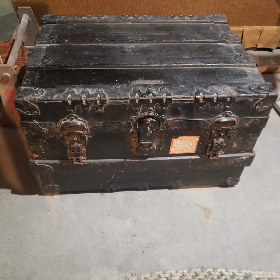 Lot# 93 - Antique Grand Forks Trunk Company Locking Trunk with Iron Hardware (main image)