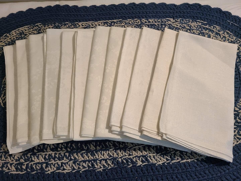 Lot# 57 - 12 Large White Napkins with subtle print (main image)