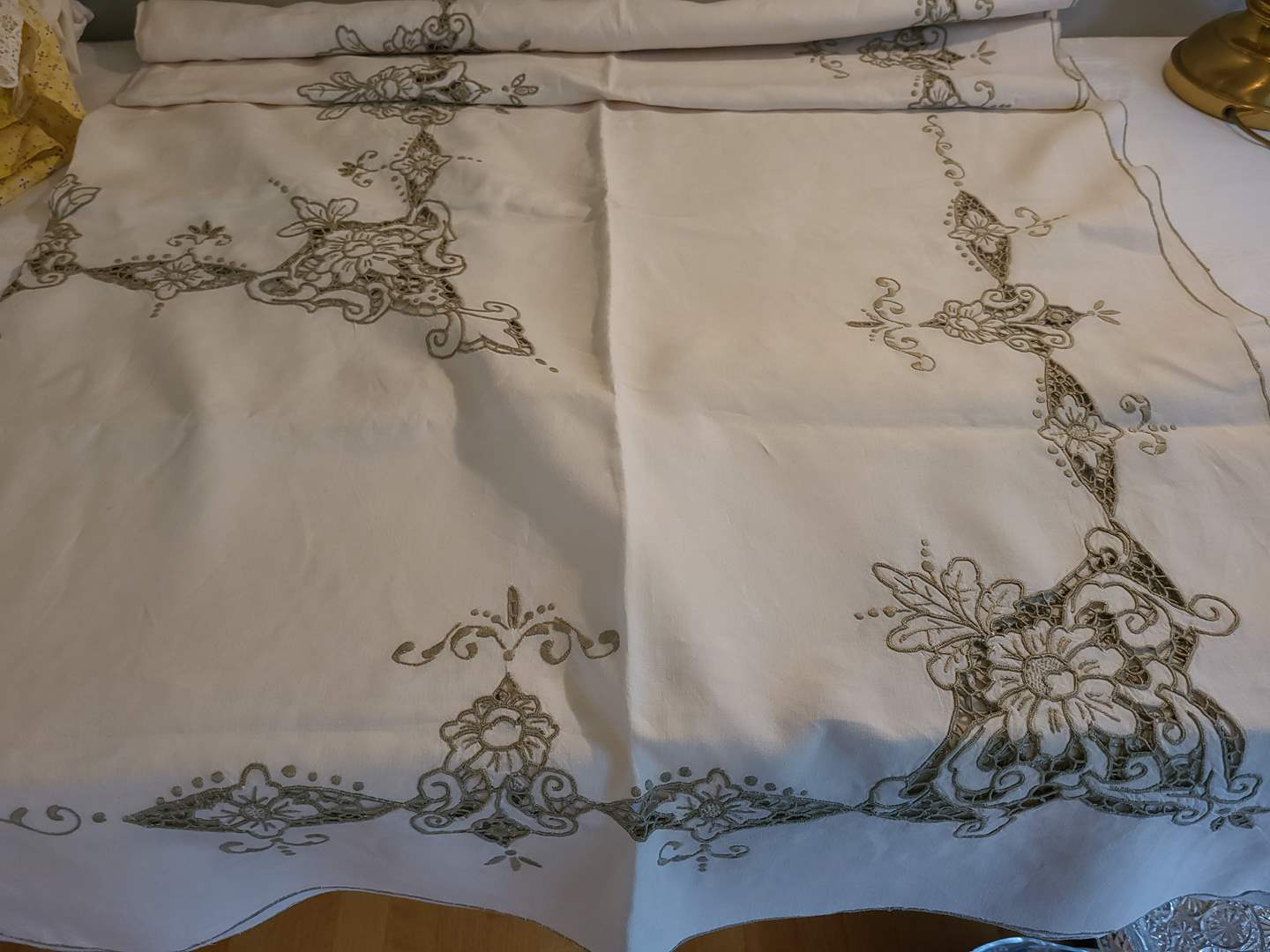 Lot# 59 -  Gorgeous Tablecloth with Lace Cutouts * Light Taupe Color (main image)