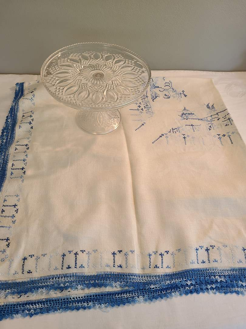 Lot# 66 - Tablecloth & Beautiful Crystal? Pedestal Cake Platter (main image)