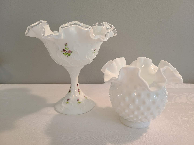 Lot# 73 - Small Hand painted Pedestal Dish * Small Hobnail Vase * Fenton ? (main image)