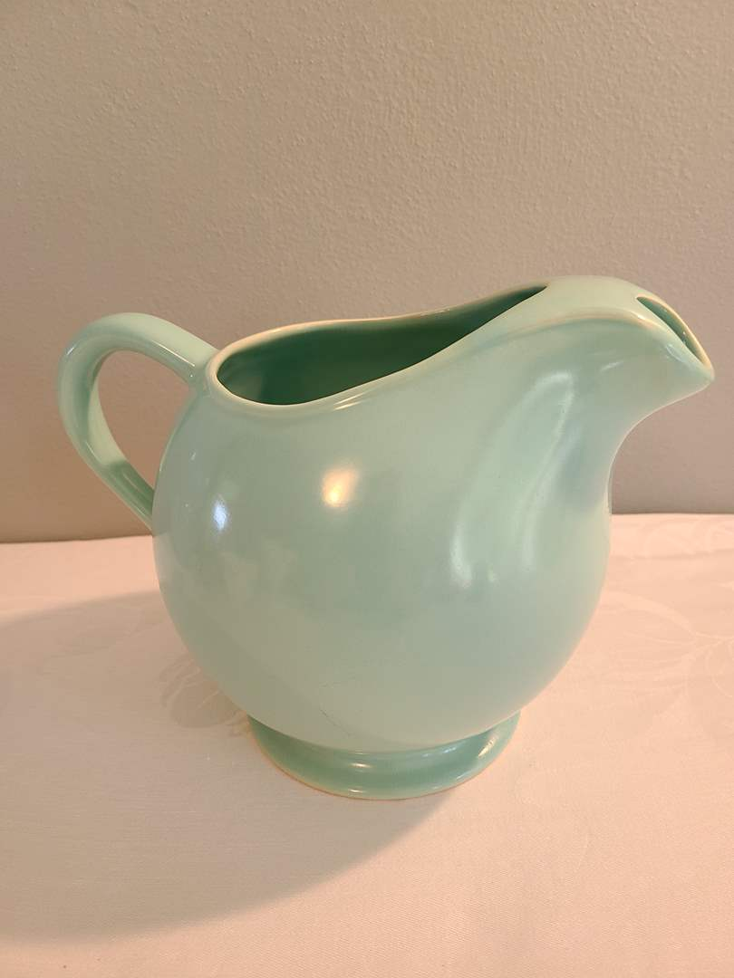 """Lot# 74 - 6.5"""" Tall Super Cute Pitcher * Fun Color! * Looks like Metlox but not marked (main image)"""