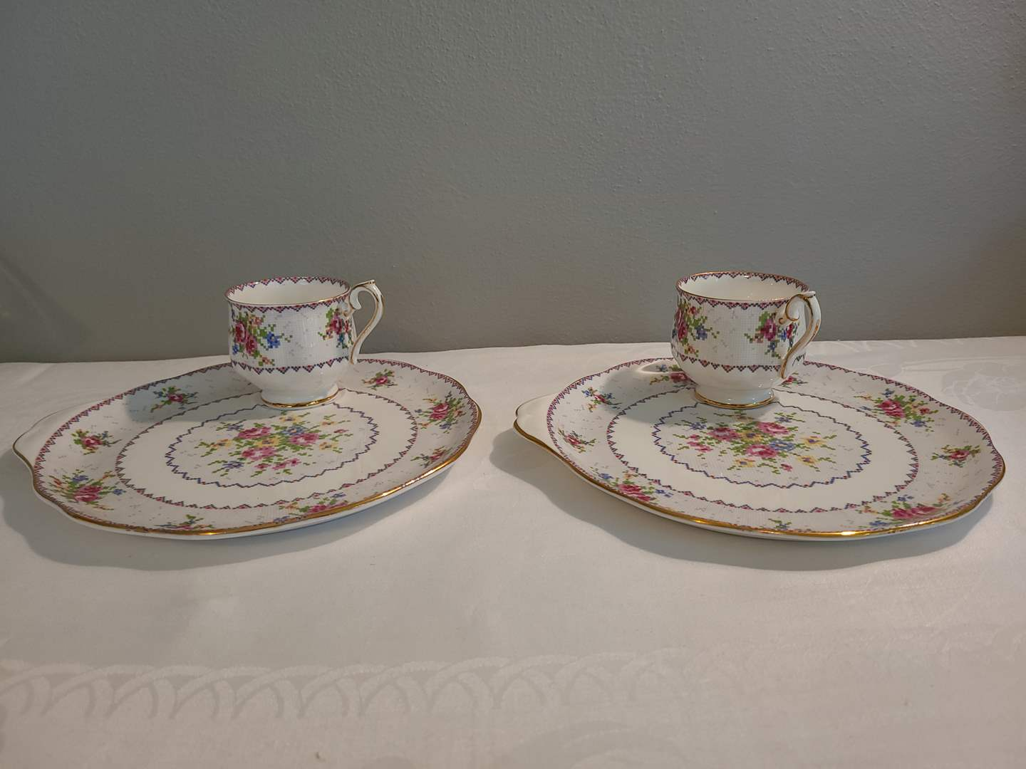 Lot# 75 - Royal Albert England Petit Point China Snack Sets (2) (main image)
